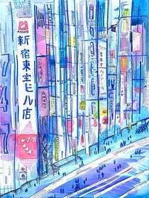 tokyo watercolor vibrant custom art spiderman