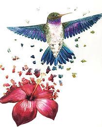 hummingbird art 3D custom watercolor