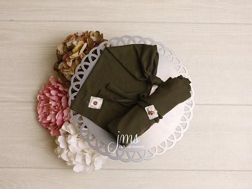 Olive Hat, Wrap, and Headband Set