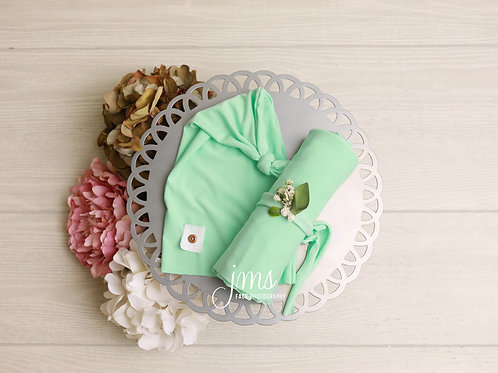 Soft Mint, Knit Hat/Wrap/Headband Set
