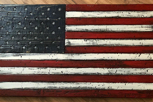 Hand Carved Wooden American Flag