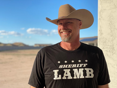 "Men's - ""Sheriff Lamb 5 Star"" Black T-Shirt"