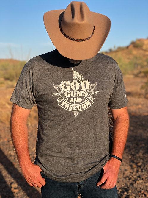 "Men's - ""God Guns and Freedom"" Gray T-Shirt"