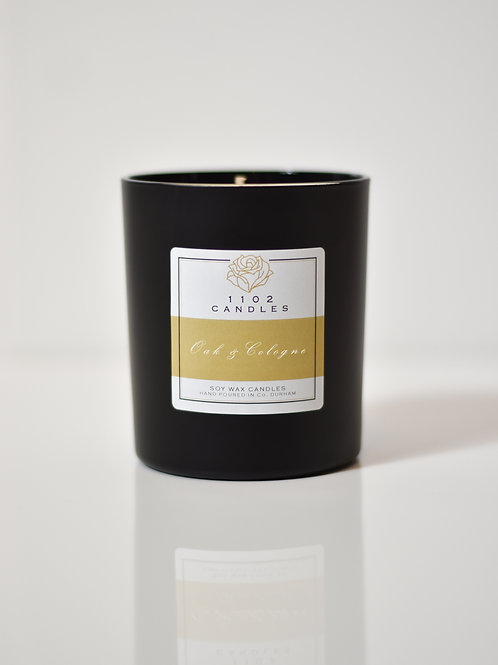 Oak & Cologne Scented Candle - Black