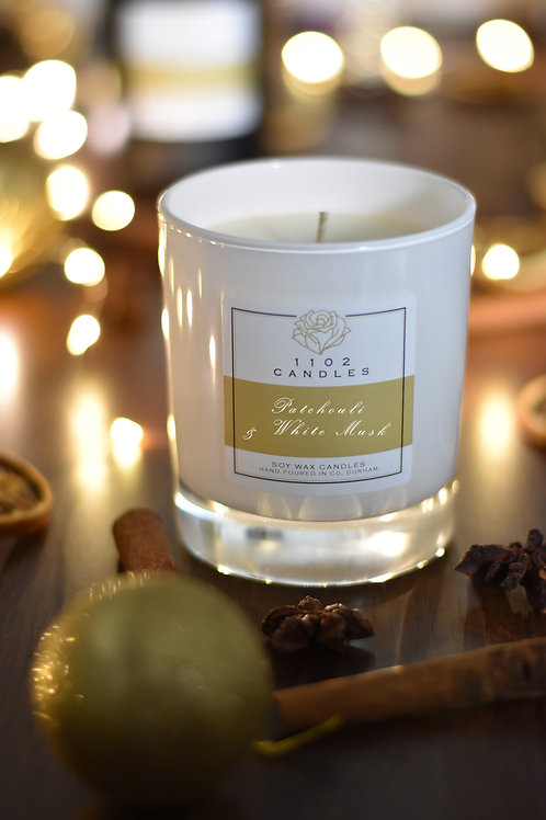 Patchouli & White Musk Scented Candle - White