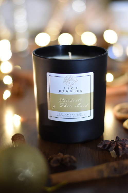 Patchouli & White Musk Scented Candle - Black