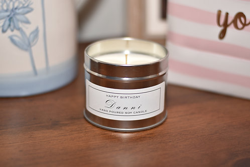 Personalised Scented Candle - Silver Tin