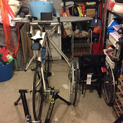 Instagram - My wheels and Harrison's wheels side by side in the 'pain cave' read