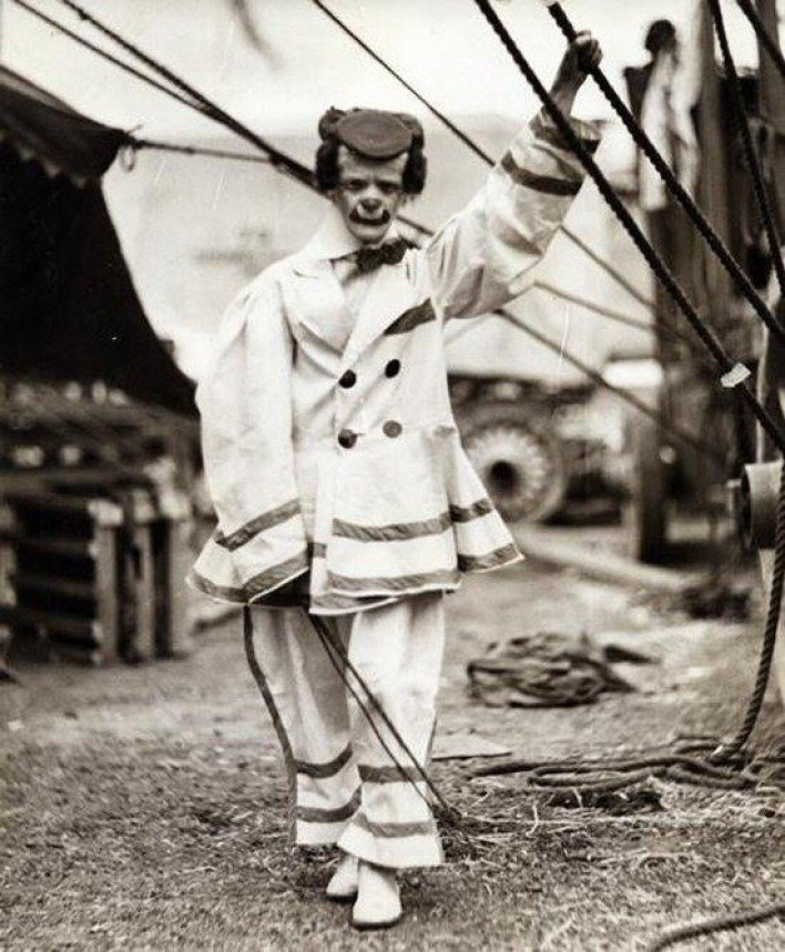 Circus Clown black and white phote
