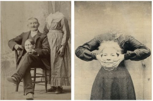 old black and white spliit picture the left a seated man with headless woman standing behid him he is holding her head in his lap  The right picture is a different headless woman holding her head in her hand  in both pictures the eyes are open