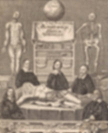black and white scetch of curious doctors being morbid