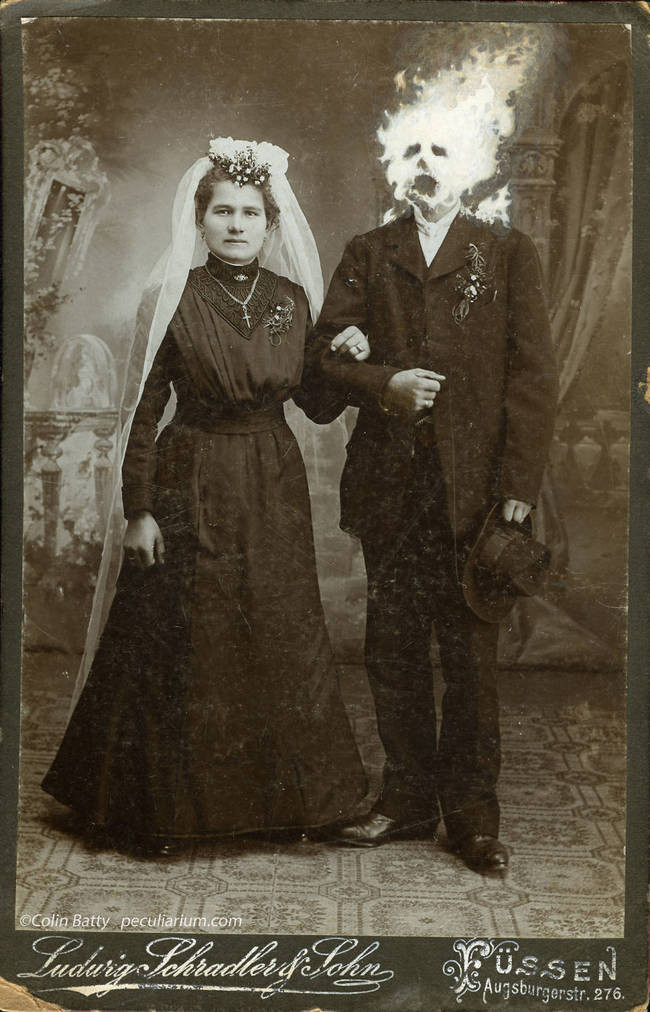 black and white tintype bride in a veil and groom with hat in hand and head on fire