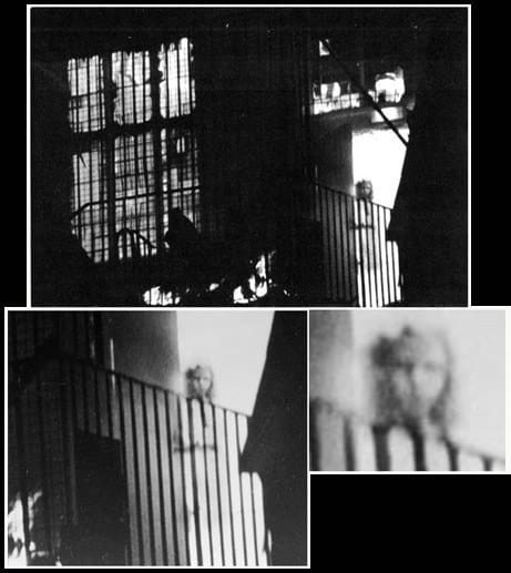 three panal black and white photo each panal coser picture of transparent girl on balcony