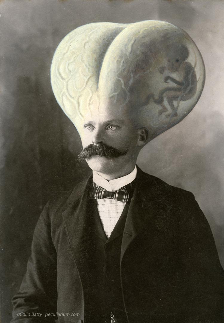 black and white photo of man with a very large see thru head with a small person floating in head
