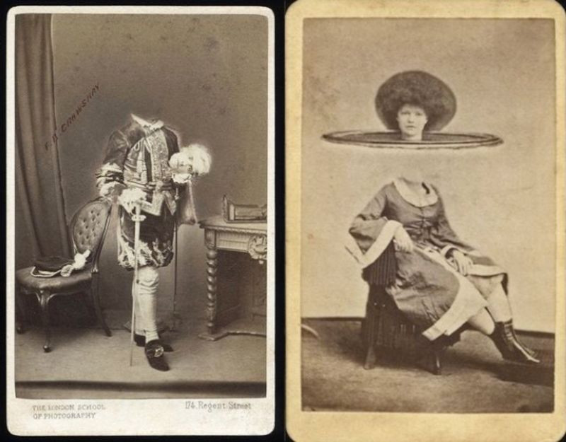 rwo panal black and white tintype photo first panal of man is 18th century attire holding his head in his hand the second panal photo of a seated woman her head suspended on a disk a foot above her body