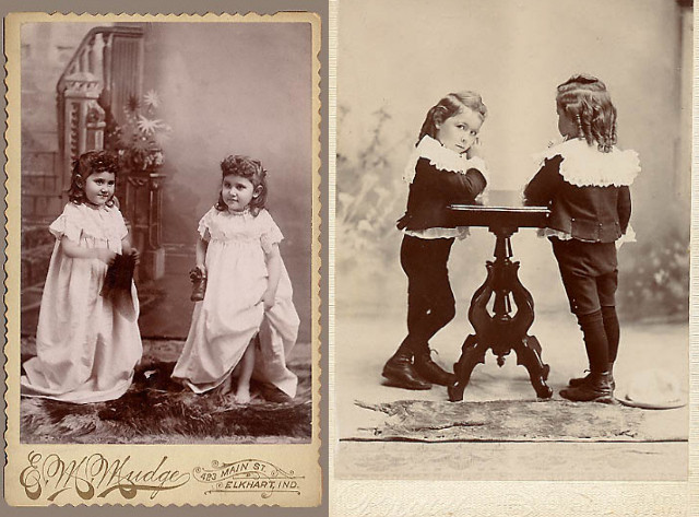 split screen black and white photo each side a different set of twins girls in long dresses on left and boys on the right