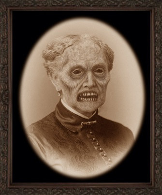 Black and white photo head shot of women with demon face