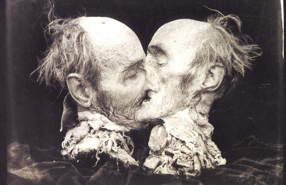 strange black and white photo of almost identical ugly male heads kissing