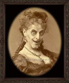 black and white oval photo of headshot of a well dressed victorian woman with an evil crones face