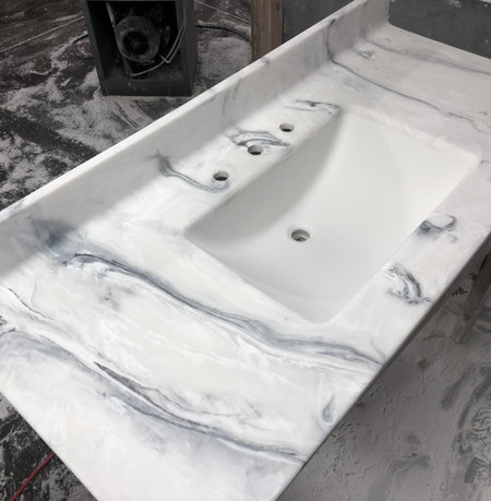 Black Onyx- 205M  Vanity Top White Wave Bowl