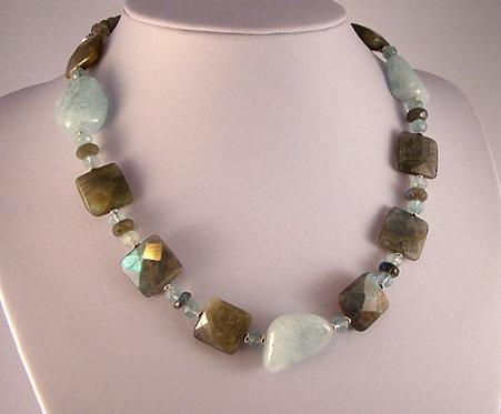 Faceted Labradorite Squares w/ Aquamarine Nuggets Necklace