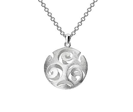 "Silver Designer Round Scroll Orb Pendant 28"" Chain"