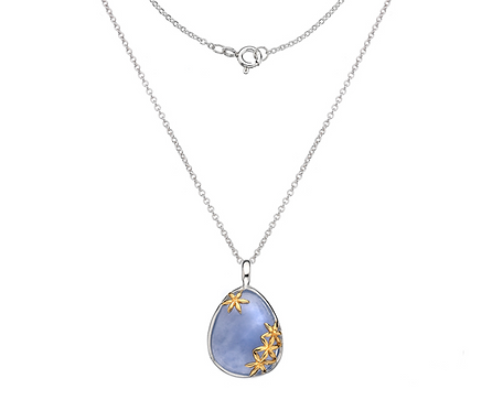 Silver set Blue Chalcedony Pendant w/ gold plated Floral Detail