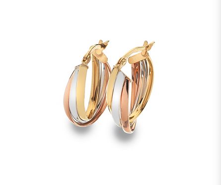 9ct Tri-Colour Gold Oval Hoop Earrings