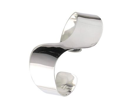 Silver Modern Torque Bangle