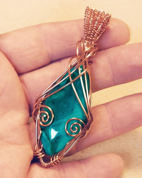 Beautiful Wire Wrapped Dendritic Opal Pendant