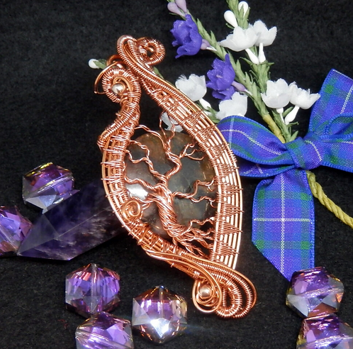 Fabulous Wire Wrapped, Tree of Life, 'Fairy Cross' Stone Pendant