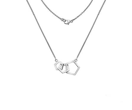 Silver Quintette Triple Pentagon Detail Necklace