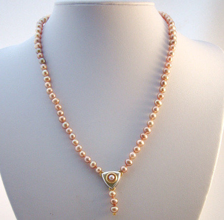 Freshwater Pink Pearls w/ 2 - Tone Pendant
