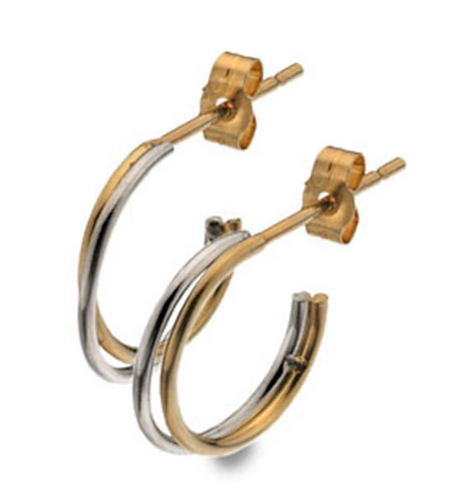 9ct Yellow & White Gold Double Hoop Earring