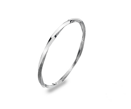 Silver Textured Twisted Bangle