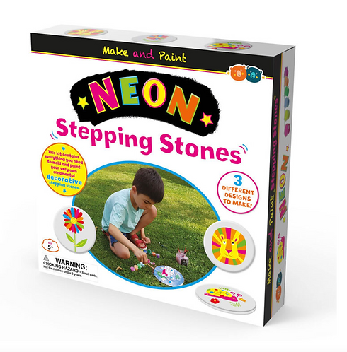 Make and Paint Stepping Stones Kit - Neon