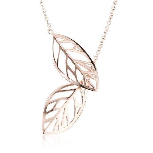 Rose Gold Steel Thread Through Leaf Lariat Necklace