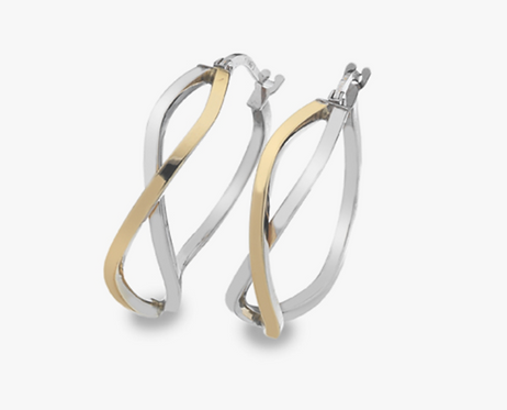 9ct Yellow & White Gold Crossover Hoop Earrings