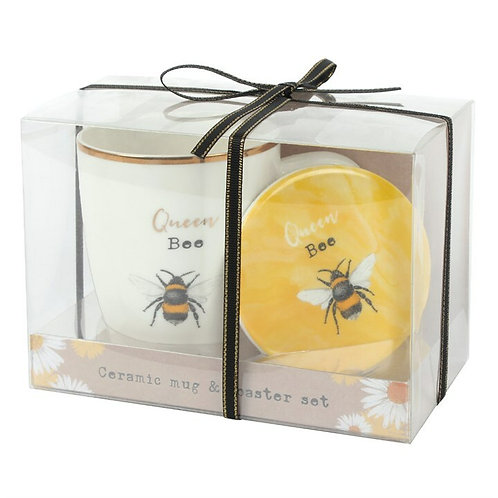 QUEEN BEE CERAMIC MUG AND COASTER SET