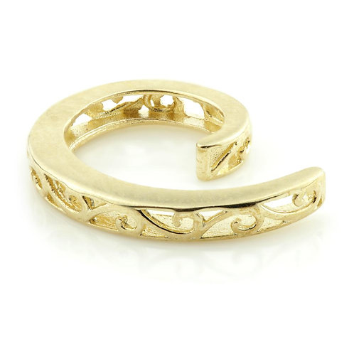 9ct Gold Filigree Spiral Ear Cuff - Conch Ring