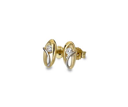 9ct Yellow & White Gold w/ CZ Swirl Oval Stud Earrings