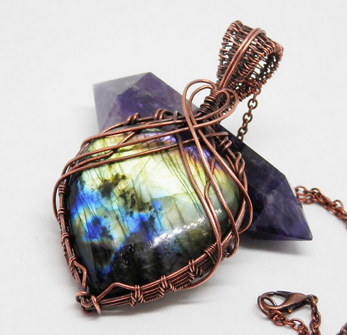 Gorgeous Wire Wrapped Heart Shaped Labradorite Pendant