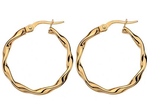 9ct Yellow Gold Flat Twist Hoop Earrings