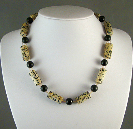 Dalmation Jasper & Onyx Necklace