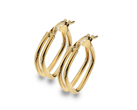 9ct Yellow Double Square Hoop Earrings
