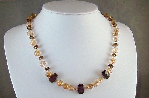 Golden Rutilated & Smokey Quartz Necklace