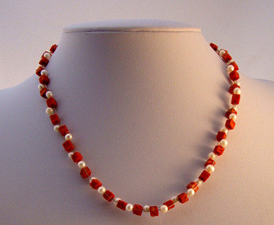 Sponge Coral & Freshwater Pearl Necklace