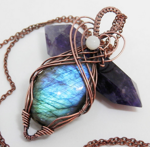 Beautiful Wire Wrapped Labradorite Pendant with Moonstone Bead