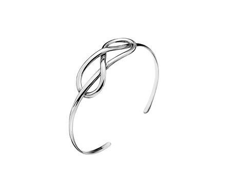 Silver Reef Knot Torque Bangle