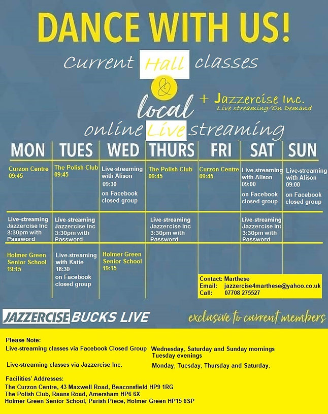 Halls and live streaming class schedule
